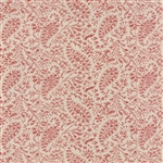 Miss Scarlet Warm Red on Flax Medium Small Paisley Yardage