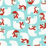 Jingle Aqua Festive Polar Bear Yardage