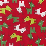 Jingle Red Holiday Reindeer Yardage