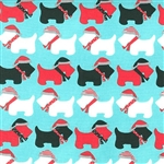 Jingle Aqua Winter Scotties Yardage