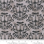 Eerily Elegant Wicked Grey Halloween Damask Yardage