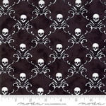 Eerily Elegant Midnight Black Skull Trellis Yardage