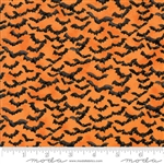 Eerily Elegant Vintage Pumpkin Bat Attack Yardage