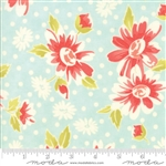 Coney Island Ocean Blue Daisy Blooms Coated Yardage