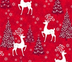 Celebrate the Season Red Reindeer and Trees Yardage