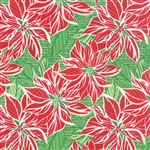 Jingle Dark Cedar Poinsettia Yardage