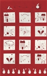 Winter Wonderland Redwork Redwork Quilt Panel