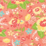 Lulu Lane Peach Flower Garden Yardage