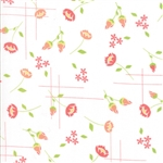 Lulu Lane Coral on White Meadow Yardage