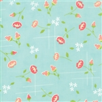 Lulu Lane Aqua Meadow Yardage