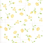 Lulu Lane Canary on White Meadow Yardage