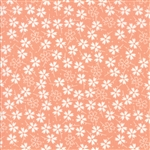 Lulu Lane Peach Pansies Yardage