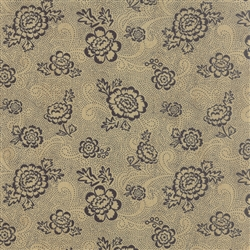 Black Tie Affair Black on Tan Whimsy Floral Yardage