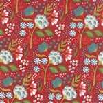 Juniper Berry Poinsettia Red Holly Jolly Yardage
