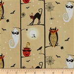 Cheeky Wee Pumpkins Owls/Cats in Trees Taupe