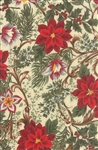 Let It Glow Metallic Cream Elegant Poinsettia Yardage