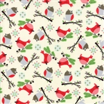 Jingle Birds Cream Bird Friends Yardage