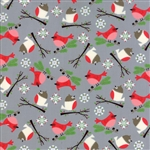 Jingle Birds Gray Bird Friends Yardage
