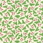 Jingle Birds Cream Holly Berries Yardage