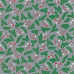 Jingle Birds Gray Holly Berries Yardage
