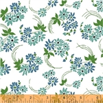 Hazel Blue Flower Swirl Yardage