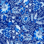 Annabelle Blue Jacobean Floral Yardage