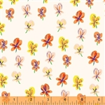 Sleeping Porch Cream Pansies Cotton Lawn Yardage