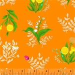 Sleeping Porch Orange Bouquet Cotton Lawn Yardage