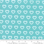First Romance Blue Eyes Paper Hearts Yardage  SKU# 8404-16 First Romance by Kristyne Czepuryk for Moda Fabrics