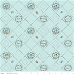Country Girls Birds Aqua Yardage