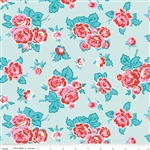 Milk Sugar Flower Main Blue Yardage