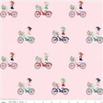 Vintage Bike Ride Pink Yardage