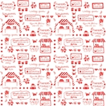 Vintage Market Text Red Yardage