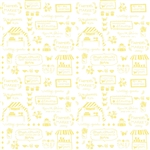 Vintage Market Text Yellow Yardage