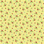 Vintage Market Straberries Yellow Yardage