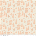 Woodland Friends Coral Yardage