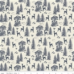 Woodland Friends Navy Yardage