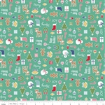 Cozy Christmas Main Teal Yardage
