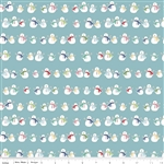 Cozy Christmas Snowmen Blue Yardage