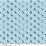 Cozy Christmas Reindeer Blue Yardage