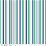Cozy Christmas Stripe Navy Yardage