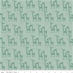 Giraffe Crossing 2 Giraffes Teal Yardage
