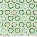 Comfort and Joy Wreaths Light Green Yardage