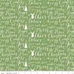 Comfort and Joy Green Words Yardage