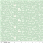 Comfort and Joy Light Green Words Yardage