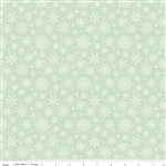 Comfort and Joy Light Green Snowflakes Yardage