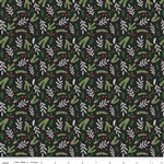 Comfort and Joy Black Foral Yardage