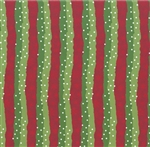 Peppermint Lane Olive and Red Stripe Yardage