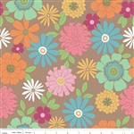 Flower Patch Brown Main Yardage