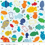 In the Ocean Fish Blue Yardage
